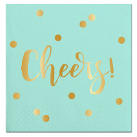 Aqua Polka Dot Cheers Napkins