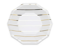 Frenchie Metallic Striped Large Plates- Gold Foil
