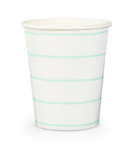 Frenchie Striped Cups- Mint
