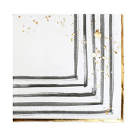 Rebelle Black and White Strokes Lunch Napkins