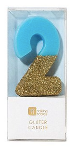 We Heart Blue Glitter Candle- 2