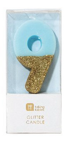 We Heart Blue Glitter Candle- 9