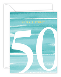 50th Birthday Watercolor Card