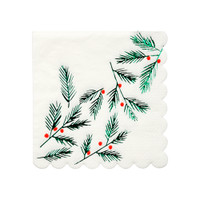 Festive Leaves & Berries Napkins- Small