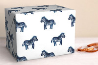 Lil Zebras Wrapping Sheet -Navy
