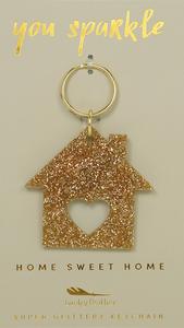 Gold Glitter House Keychain