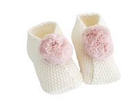 Baby Pom Pom Slippers- Dusty Pink and Ivory