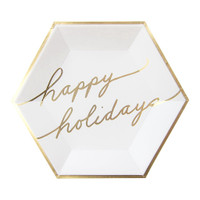 Blanc Holiday Happy Holiday Paper Plates- Large