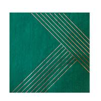 Manhattan Dark Green Striped Lunch Napkins