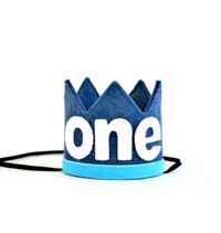 Denim & Turquoise Crown- One