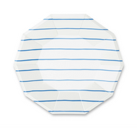 Frenchie Striped Large Plate-- Cobalt