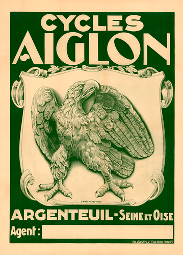 Cycles Aiglon Vintage Eagle Bicycle Poster by Michel-Ange
