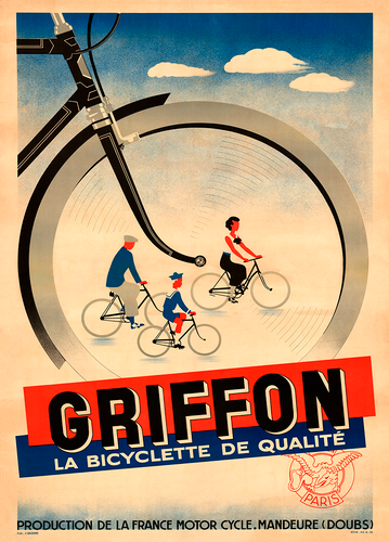 Griffon Bicycles Vintage Poster Print