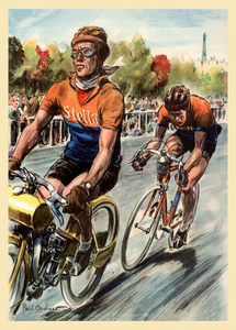 Louison Bobet winning the 1953 Criterium des As in Paris bicycle poster