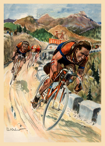 Dussault and Lambrecht descending on a Stella Bicycle in the 1953 Tour de France
