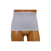 Men's Wrap/Brief with Open Crotch and Built-in Ostomy Barrier/Support Gray, Center Stoma, Small 32-34  8093206SC-Each