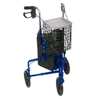 3 Wheel Aluminum Rollator, Blue