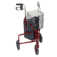 3 Wheel Aluminum Rollator, Red