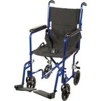"Transport Aluminum Wheelchair 17"" Seat, Red"