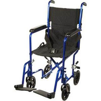 """Aluminum Transport Chair, 19"""", Blue Frame, Black Upholstery, 300 lb Weight Capacity"""