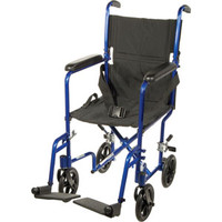 "Transport Aluminum Wheelchair 19"" Seat, Silver"