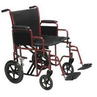 "Bariatric Steel Transport Chair, 22"", Blue"
