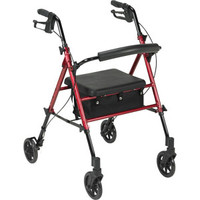 "4Wheel Rollator Red, 6"" Casters, Aluminum"