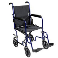"""Transport Chair with Fixed Full Arms Blue, 19"""" x 16"""" Seat, Steel Frame"""