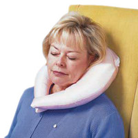 Comfy Crescent Pillow with Blue Satin Zippered Cover