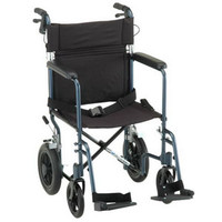 "Lightweight Transport Chair with 12"" Rear Wheel, Blue"