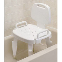 Bath Safe Adj Shower Seat w/Arms & Back, Brown Box