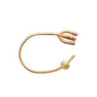Gold 3Way SiliconeCoated Foley Catheter 24 Fr 30 cc