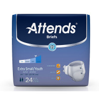 """Attends Adult Extra Absorbent Breathable Brief Youth/Small 20"""" - 32""""  48BRBX10-Pack(age)"""