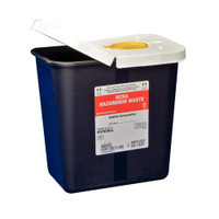 SharpSafety RCRA Hazardous Waste Container Hinged Lid with Snap Cap, Black 2 Gallon  688602RC-Case