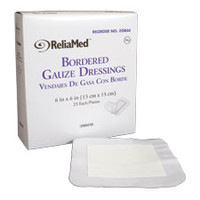 "ReliaMed Sterile Bordered Gauze Dressing 6 x 6""  ZGB66-Box"""