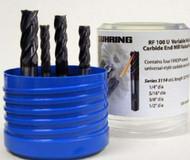 5 PC 3080S Guhring 4FL  Carbide Stub End Mill Set