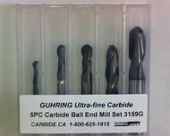 5 PC 3159G Guhring 2FL FIREX Coated Carbide Ball Nose End Mill Set