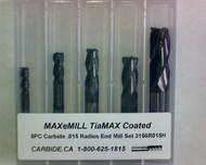5 PC 3156H MAXeMILL 4FL Carbide .015 Radius End Mill Set