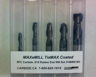 5 PC 3148H MAXeMILL 2FL Carbide .015 Radius End Mill Set