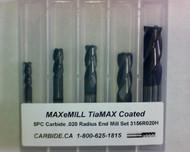5 PC 3156H MAXeMILL 4FL Carbide .020 Radius End Mill Set