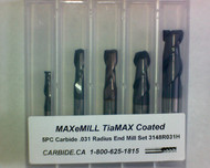 5 PC 3148H MAXeMILL 2FL Carbide .031 Radius End Mill Set