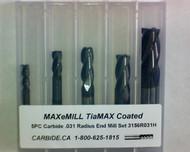 5 PC 3156H MAXeMILL 4FL Carbide .031 Radius End Mill Set