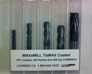 5 PC 3156H MAXeMILL 4FL Carbide .062 Radius End Mill Set