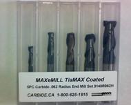 5 PC 3148H MAXeMILL 2FL Carbide .062 Radius End Mill Set
