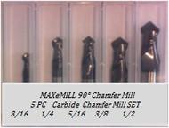 5 PC CM090-S 2FL Carbide 90° Chamfer Mill Set