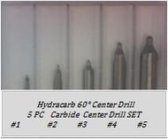 5 PC 60° Carbide Center Drill Set