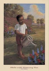 Child With Watering Can  Art Print - Tim Ashkar