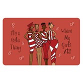 Red It's A Sista Thang Floor Mat--Kiwi Mcdowell