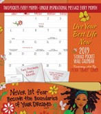 2019 Live Your Best Life Now Storage Pocket Wall Calendar