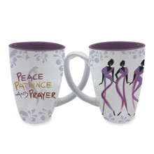 Peace, Patience, and Prayer Cidne Wallace, Mugs, Latte Mugs
